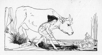 a boy and a cow illustration