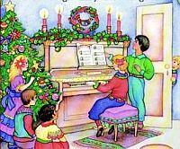 children singign carols near a piano and a christmas tree