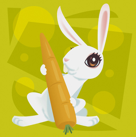 rabbit holding a carrot illustration
