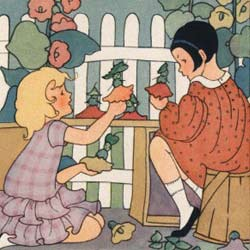 two girls playing with flowers in the garden, near a cute, white fence